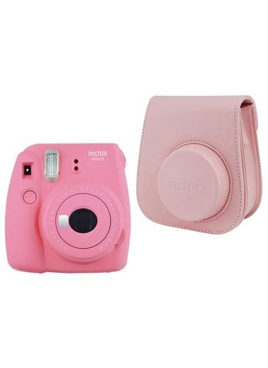 Fujifilm instax mini 9 Pembe Fotoğraf Makinesi ve Deri Çanta Seti Pembe